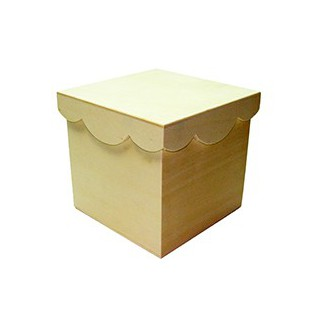 Caixa choupo 16.5x16.5x16.5 c/tampa recortada