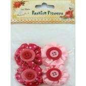 Aplicação l. birdie flores c/botoes rosa (4pcs)
