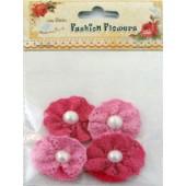Aplicação l. birdie flor chochet rosa (4 uni)