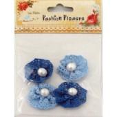 Aplicação l. birdie flor chochet azul (4 uni)