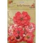 Aplicação little birdie flores rosa (8 uni)