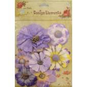 Aplicação little birdie flores lilas (8 uni)
