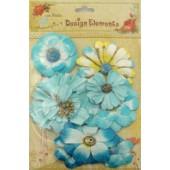 Aplicação little birdie flores azuis (8 uni)