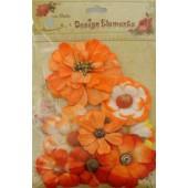 Aplicação little birdie flores laranja (8 uni)