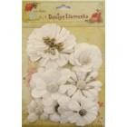 Aplicação little birdie flores brancas (8 uni)