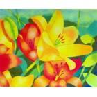 Papel aut. pré-desenhado 50x61 c/ flores laranjas