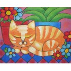 Pré-desenhado arenart c/38x46cms gato flores