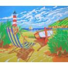Papel aut. pré-desenhado 50x61 praia
