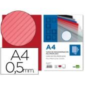 Capa de encadernacao liderpapel em polipropileno transparente raiado formato a4 0.5 mm vermelho