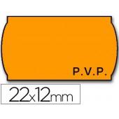Rolo de etiquetas adesivas meto onduladas 22 x 12 mm pvp- laranja fluorescente rolo 1500