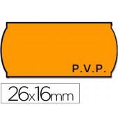 Rolo de etiquetas adesivas meto onduladas 26 x 16 mm pvp- laranja fluorescente rolo 1200