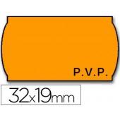 Rolo de etiquetas adesivas meto onduladas 32 x 19 mm pvp- laranja fluorescente rolo 1000