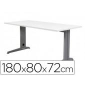 Mesa de escritorio rocada metal 2003ac04 aluminio /branca 180x80 cm