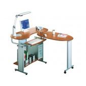 Mesa de informatica q-connect em aluminio e madeira cor de carvalho 100 x 128 x 30 cm