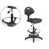 Cadeira industrial com encosto rocada regulavel em altura com assento em polimero com tacos
