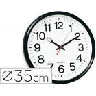 Relogio de parede redondo em plastico diametro 35 cm aro preto