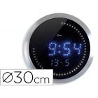Relogio digital cep de parede para escritorio redondo 30 cm de diametro cor preto esfera aluminio digitos led