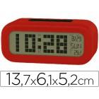 Relogio despertador com monitor retroiluminada calendario e temperatura cor vermelho