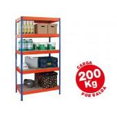Estante metalica ar storage 180x90x40 cm 5 prateleiras 200kg por prat.em madeira sem parafusos cor azul/laranja