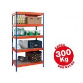 Estante metalica ar storage 192x100x50cm 5 prateleiras 300kg por prat. em madeira sem parafusos. cor azul/laranja