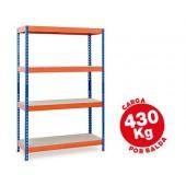 Estante metalica ar storage 200x100x60cm 4 prateleiras 430kg por prat. em madeira sem parafusos cor azul/laranja