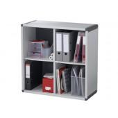 Movel estante paperflow com 4 blocos na cor cinza 79 x 79 x 33 cm