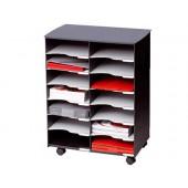 Modulo fast- paperflow com 14 compartimentos e rodas cor cinza