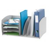 Organizador de armario paperflow cinza composto por espaco de arquivo e 4 tabuleiros 245 x 593 x 340 mm