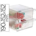 Cubo de arquivo archivo 2000 com 2 gavetas em poliestireno transparente 190 x 152 x 152 mm