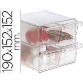 Cubo de arquivo archivo 2000 com 4 gavetas em poliestireno transparente 190 x 152 x 152 mm