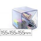 Cubo de arquivo archivo 2000 aspa organizador modular plastico azul transparente 155x155x155 mm inclui 2 clips