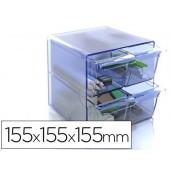 Cubo de arquivo archivo 2000 4 gavetas organizador modular plastico azul transparente 155x155x155 mm