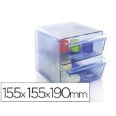 Cubo de arquivo archivo 2000 2 gavetas organizador modular plastico azul transparente 155x155x190 mm