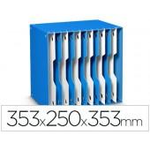 Arquivador modular cep poliestireno azul/branco 12 departamentos 353x250x353 mm