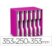 Arquivador modular cep poliestireno rosa/branco 12 departamentos 353x250x353 mm