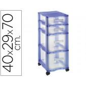 Ficheiro offisys com 4 gavetas azul / transparente 70 x 40 x 29 cm