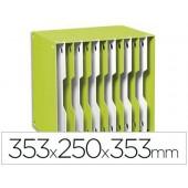 Arquivador modular cep poliestireno verde/branco 12 departamentos 353x250x353 mm