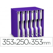 Arquivador modular cep poliestireno violeta/branco 12 departamentos 353x250x353 mm