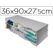 Ficheiro de arquivo archivodoc trio jumbo com 6 compartimentos 360x900x275 mm