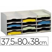Ficheiro de arquivo paperflow 15 divisorias para formato a4 na cor cinza 313 x 304 x 757 mm