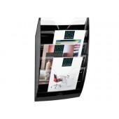 Expositor mural cep de parede com 5 compartimentos transparente e preto 580x122x350mm