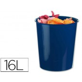 Cesto de papeis liderpapel em plastico azul opaco 16 litros - medidas 31 x 29 cm