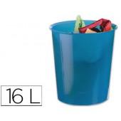Cesto de papeis liderpapel em plastico azul translucido 16 litros - medidas 31 x 29 cm