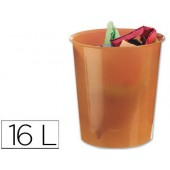 Cesto de papeis liderpapel em plastico laranja translucido 16 litros - medidas 31 x 29 cm