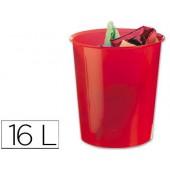 Cesto de papeis liderpapel em plastico vermelho translucido 16 litros - medidas 31 x 29 cm