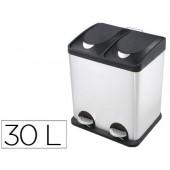 Cesto de papeis metalico q-connect com 2 compartimentos e tampa plastica30 litros 410x340x485 mm