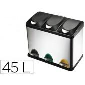 Cesto de papeis metalicoq- connect com 3 compartimentos e tampa plastica 45 litros605x340x485 mm