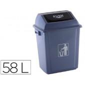 Caixote de lixo industrial q-connect com tampa de empurrar 58 l 470x330x760 mm