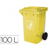 Cesto q-connect plastica 100l com capa amarela 115x50x56 cms