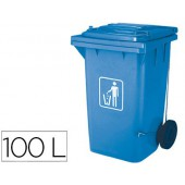 Cesto q-connect plastica 100l com capa azul 115x50x56 cms